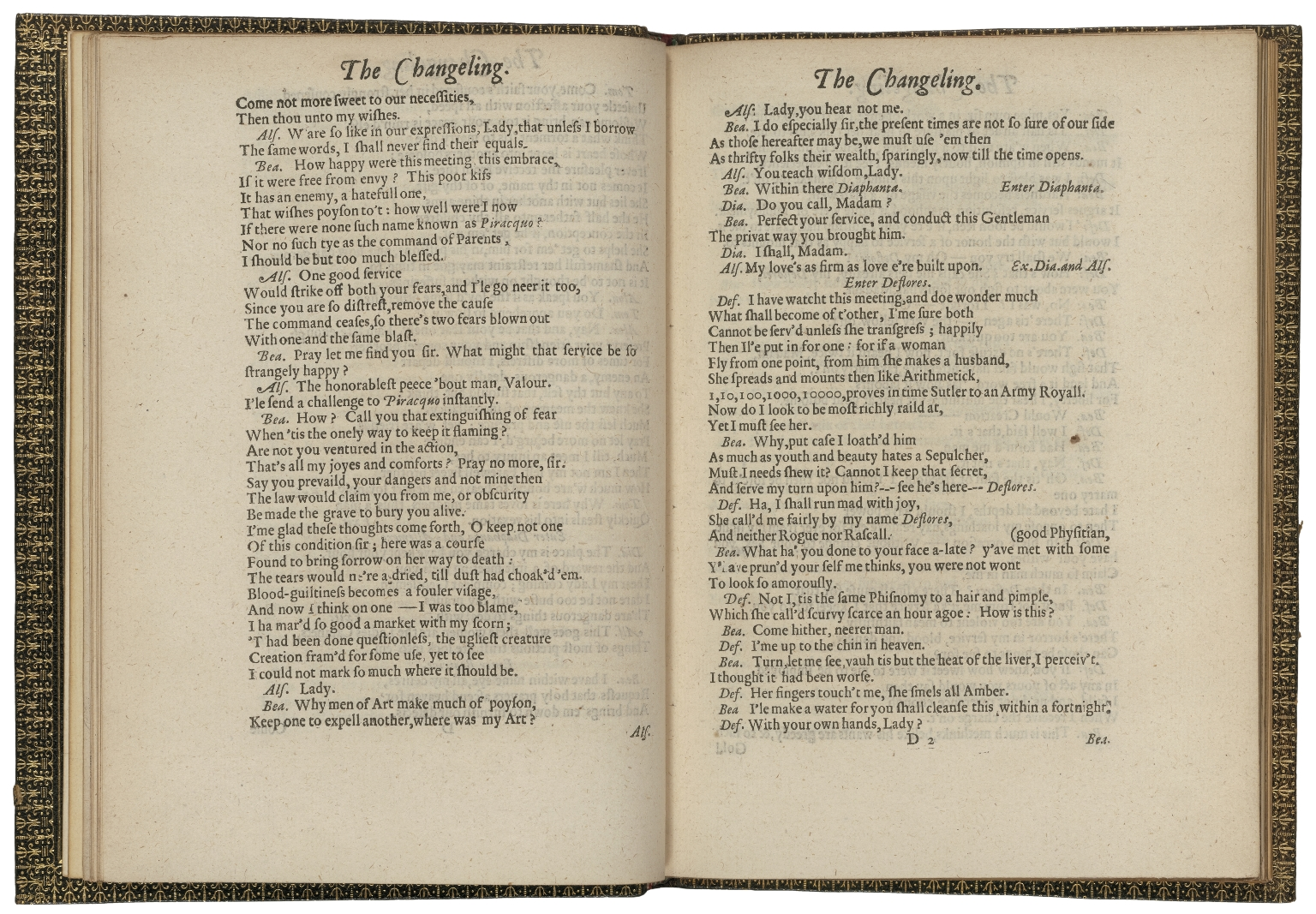 an image of Thomas Middleton and William Rowley's The Changeling, opened to D1v and D2r